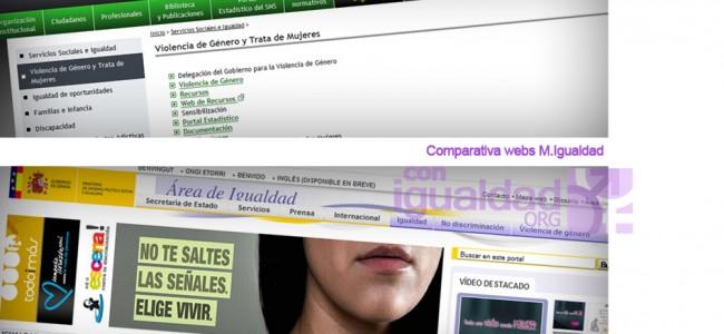 La nueva web del Ministerio de Sanidad S.Sociales e Igualdad olvida las campañas contra la violencia de género