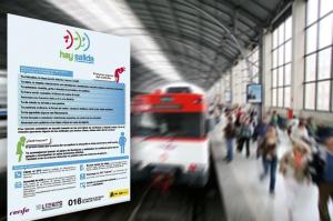 Plafones que formarán parte de la campaña en los trenes de Renfe y Feve